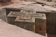 Einzigartige monolithische stein-gehauene Kirche von St George, UNESCO-Welterbe, Lalibela, Äthiopien Stockfoto