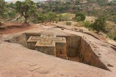 Einzigartige monolithische stein-gehauene Kirche von St George, UNESCO-Welterbe, Lalibela, Äthiopien lizenzfreies stockfoto