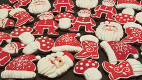 Einzigartige selbst gemachte bunte neue Jahr- und Weihnachtsplätzchen Sammlung, Lebkuchen Lizenzfreies Stockfoto