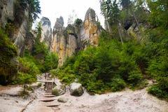 Einzigartiger Felsenberg Adrspasske skaly im Nationalpark Adrspach, Tschechische Republik Stockbild