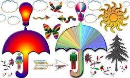 Einzigartiger Kunstmann und -frau teilen Wissen unter Regenschirm lizenzfreie abbildung
