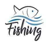 Einzigartiges fischendes in Verbindung stehendes Logo Kreatives Element für die Fischerei von Kombination einer Welle und des Fis stock abbildung