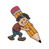 Einzigartiges lustiges Schreiben des kleinen Jungen der Karikatur Lizenzfreie Stockbilder