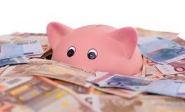 Einzigartiges rosa keramisches Sparschwein, das im Geld ertrinkt Stockbild