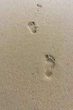 Einzige Abdrücke in Sand songkhla, Thailand Lizenzfreie Stockfotos