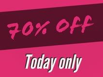 einziger Fahnenverkauf 70% Verkaufs heute für heutigen Tag stock abbildung