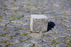 Einziger viereckiger Stein auf der Pflasterung stockfotos