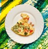 Eiomelet met tomaten stock afbeeldingen