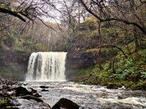 Eira-Wasserfall Brecon Sgwd Jahr erleuchtet Nationalpark Lizenzfreie Stockbilder