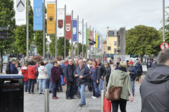 Eire Square, Galway, Ireland June 2017,Tour Group starting a tou. R around the city Royalty Free Stock Photos