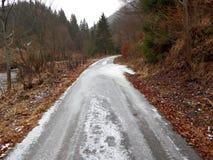 Eis auf dem Weg Stockfoto