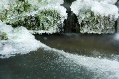 Eis auf Oberfläche von Teich Stockbild