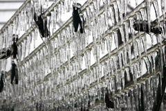 Eis-bedeckte Wäscheleine im Winter Lizenzfreie Stockfotos