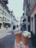 Eis-creame in Rheinfelden lizenzfreies stockbild