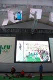 Eis, das an den Würfeln bei XXII Winterolympiade klettert Stockfoto