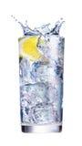 Eis, das im Cup Wasser spritzt Lizenzfreie Stockfotos