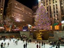 Eis-Eisbahn und Baum Rockefeller Mittel08_5 Stockfoto
