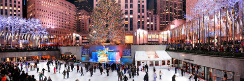 Eis-eislaufeneisbahn der Rockefeller-Mitte Stockbild