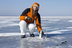 Eis-Fischen. stockfoto