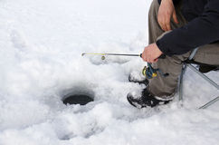 Eis-Fischen Stockfoto