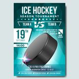 Eis-Hockey-Plakat-Vektor E Größe A4 Sportereignis-Mitteilung Winter-Spiel, Liga-Design stock abbildung