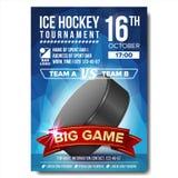 Eis-Hockey-Plakat-Vektor Eishockey-puck Vertikales Design für Sport-Stangen-Förderung Eis-Hockey-Flieger einladung lizenzfreie abbildung