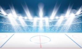 Eis-Hockey-Stadion mit Scheinwerfern stock abbildung
