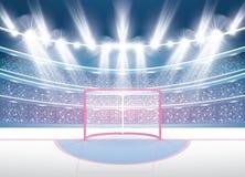 Eis-Hockey-Stadion mit Scheinwerfern und rotem Ziel lizenzfreie abbildung