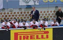 Eis-Hockey-Weltmeisterschaft 2017 Div. 1A in Kyiv, Ukraine Lizenzfreies Stockfoto