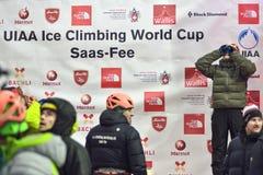 Eis-kletternde Weltmeisterschaft Saas-Gebühr 2015 Lizenzfreies Stockbild