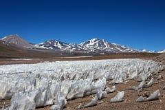 Eis oder Schnee penitentes, San Francisco Mountain Pass, Chile Argentinien Lizenzfreies Stockbild