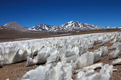 Eis oder Schnee penitentes, San Francisco Mountain Pass, Chile Argentinien Stockfoto