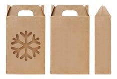 Eis-Schneeform Fenster des Kastens schnitt braune Verpackungsschablone, leere lokalisierter weißer Hintergrund Kraftpapier-Kasten Lizenzfreie Stockfotos