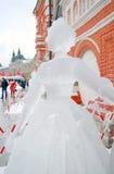 Eis-Skulpturausstellung auf dem Roten Platz Stockbild