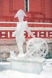 Eis-Skulpturausstellung auf dem Roten Platz Lizenzfreies Stockfoto