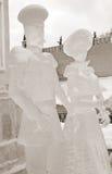 Eis-Skulpturausstellung auf dem Roten Platz Stockbilder
