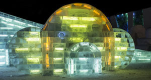 Eis-Skulpturen am Harbin-Eis und an der Schnee-Welt in Harbin China Lizenzfreie Stockbilder