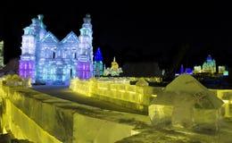 Eis-Skulpturen am Harbin-Eis und an der Schnee-Welt in Harbin China Stockfotos