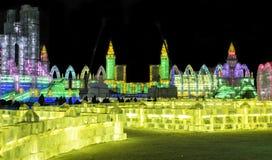 Eis-Skulpturen am Harbin-Eis und an der Schnee-Welt in Harbin China Stockbild