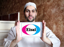 Eisai Pharmaceutical Company logo. Logo of Eisai Pharmaceutical Company on samsung tablet holded by arab muslim man . Eisai is a Japanese pharmaceutical company Royalty Free Stock Photos