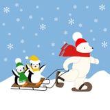 Eisbär und Pinguine Lizenzfreies Stockfoto