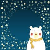 Eisbär und sternenklarer Himmel Lizenzfreie Stockfotografie