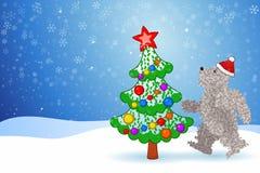 Eisbär- und Weihnachtsbaum Stockbilder