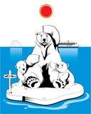 Eisbärfamilie Stockfotografie
