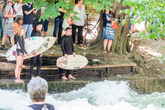 Eisbach surfers Stock Photo