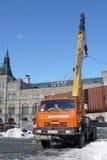 Eisbahn, die auf dem Roten Platz abbaut Lizenzfreies Stockbild