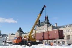 Eisbahn, die auf dem Roten Platz abbaut Stockfotos