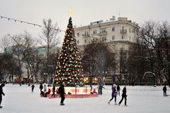 Eisbahn in Moskau Lizenzfreies Stockbild