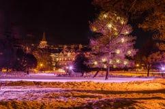 Eisbahn nachts lizenzfreie stockbilder