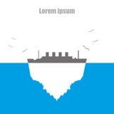 Eisberg durch flache Artillustration des Dampfers von Seevögeln Stockbild